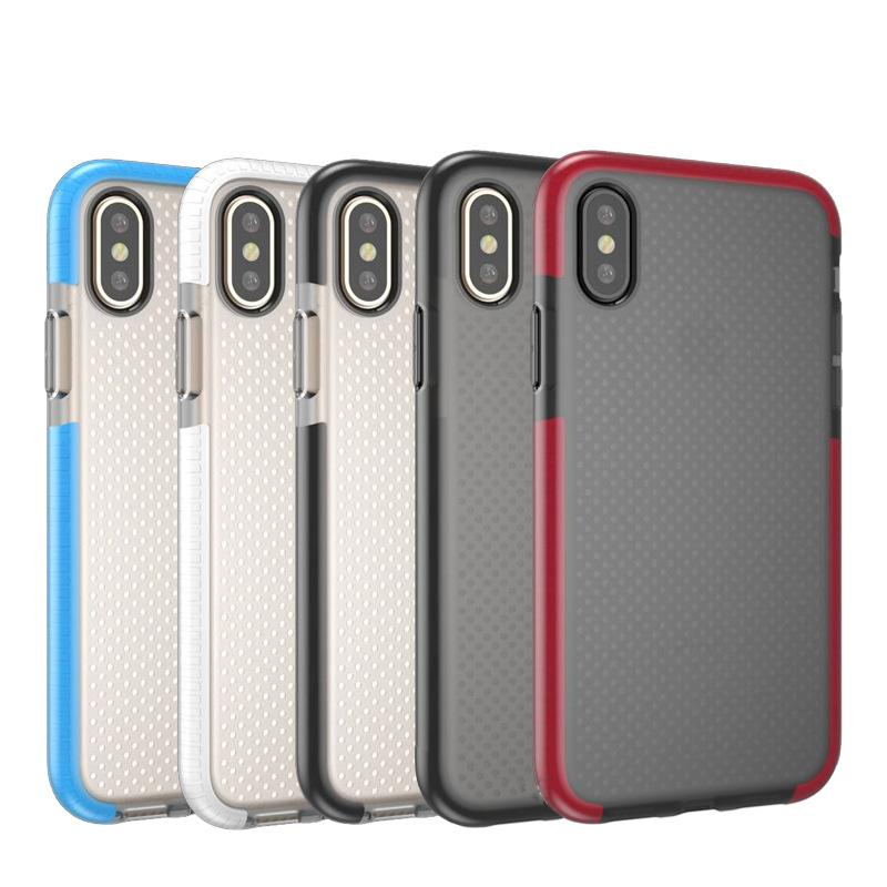For Iphone xs xr Case Hybrid Dual Color Clear Soft TPU Mesh Drop Shockproof Back Cover Case For Iphone XS max 8 8plus