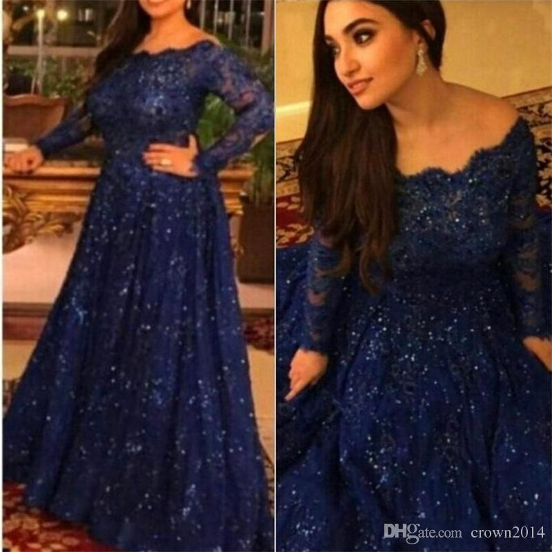 19b39648ec94d 2017 New Arabic Long Sleeve Lace Muslim Evening Dresses Capped Off The Shoulder  Prom Dress Royal Blue Custom Formal Evening Gowns Plus Size Designer Gowns  ...
