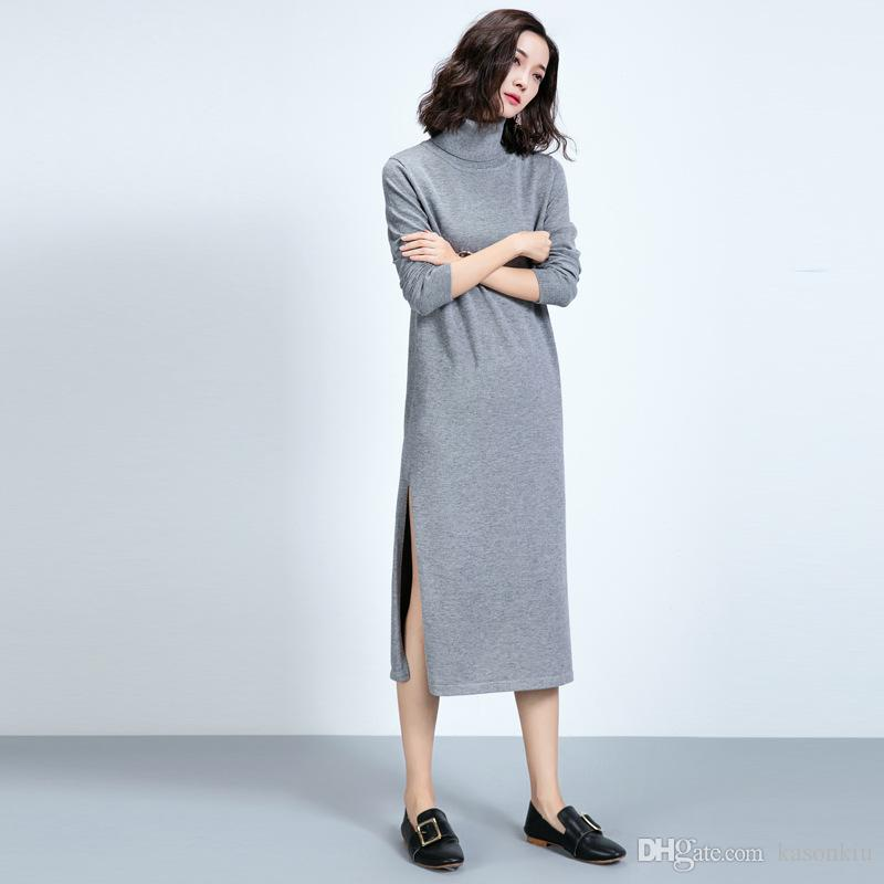 bb201a46e56 Fashion Women Autumn Winter Sweater Dresses Slim Turtleneck Sexy Bodycon  Solid Color Robe LongKnitted Dress Maxi Dress KKDS09 Latex Catsuit Sweater  Dresses ...