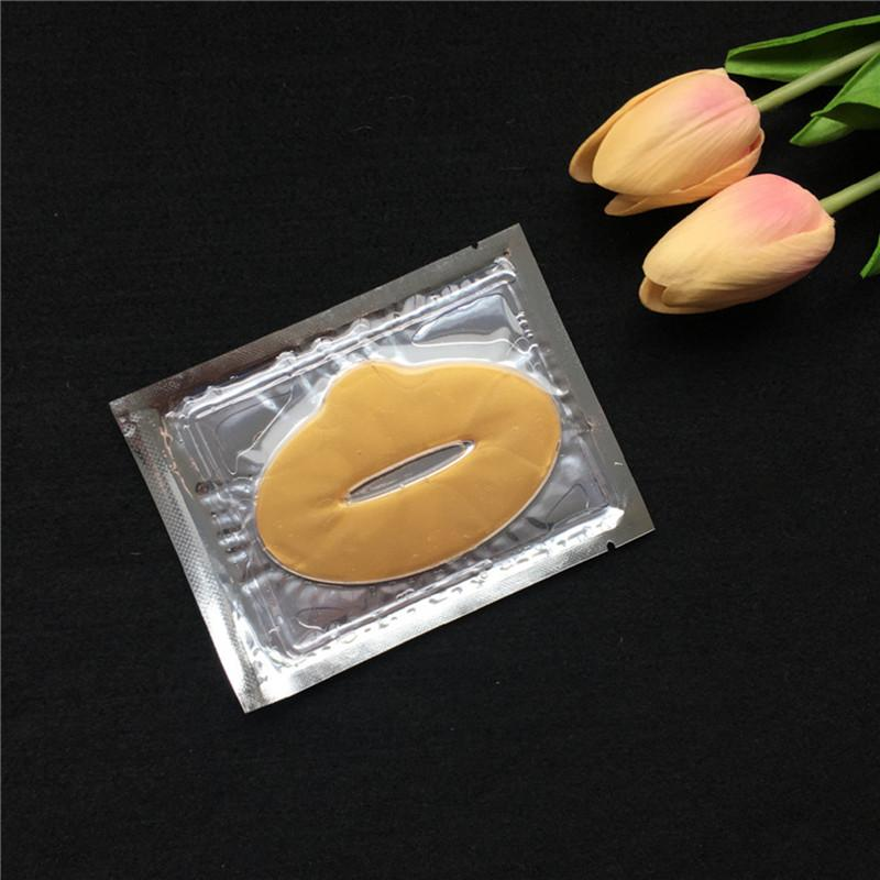 Nuevas mujeres Lady Lips Care Gold Sexy Crystal Membrane Collagen Moisture Essence Máscaras de labios