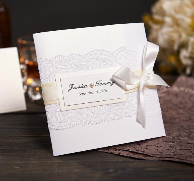 Wholesale Elegant Lace Wedding Invitations With Pearl Ribbon
