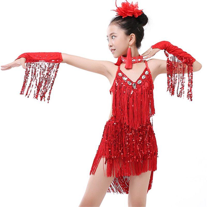 5ecdf87da1fa 2019 New Children'S Sequin Latin Dance Dress Girls Tassel Rumba Tango Sasa  Samba Ballroom Performance Costume Competition Latin Group 003 From ...