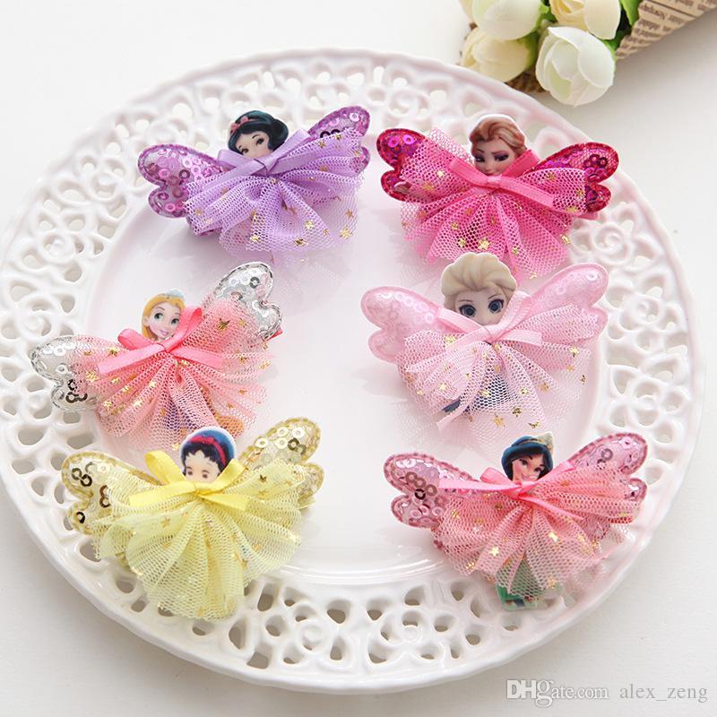 8 stilleri Kız Peri Prenses Dantel sequins Tokalar Beyaz Kelebek Kanatları Saç Klipleri Sevimli Pretty bebek saç aksesuarı