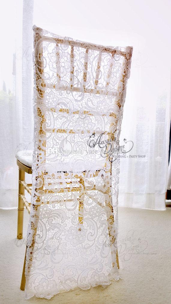 Charming White Lace Wedding Chair Covers Custom Made Groom and Bride Chiavari Chair Slipcover Wedding Accessories