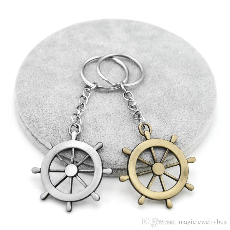 Orjinal Yeni Vintage Gümüş Çapa Man Anahtarlık Trinket Retro Kafatası Çapa Dümen Anahtarlık Dümen Anahtarlık Takı eşyalar Hediye Llaveros