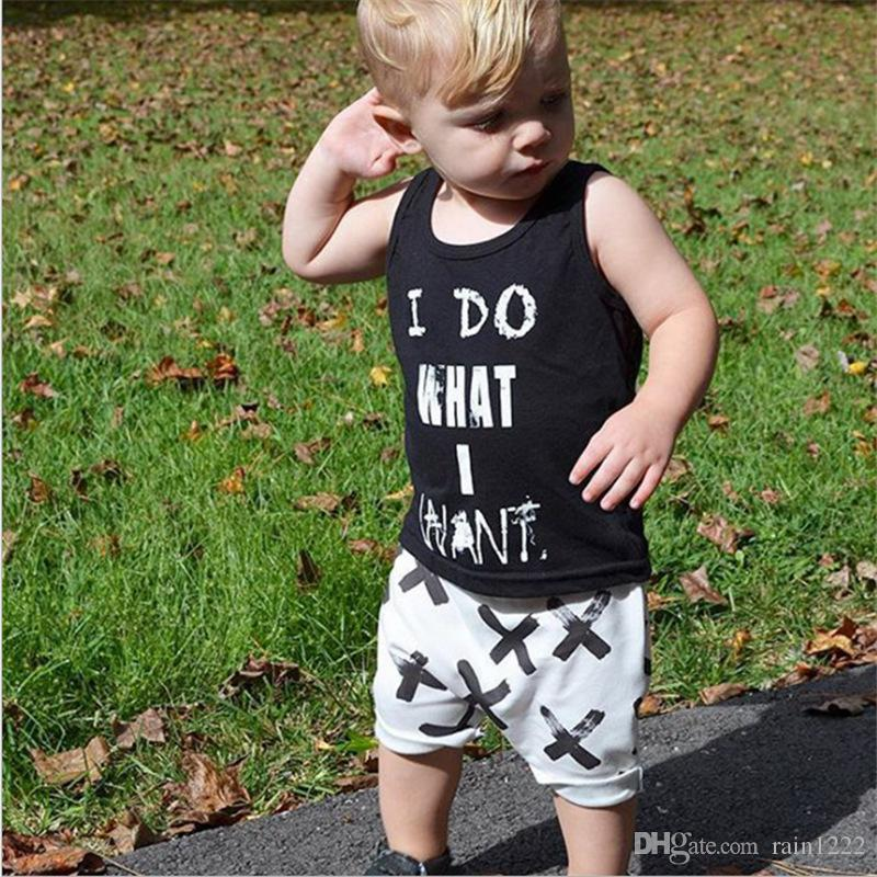 Baby Boys Cotton Vests Shorts Clothes Outfits For Babies Toddlers Letter Sleeveless Shirts Short Pants Suits Children Kids Clothing Sets