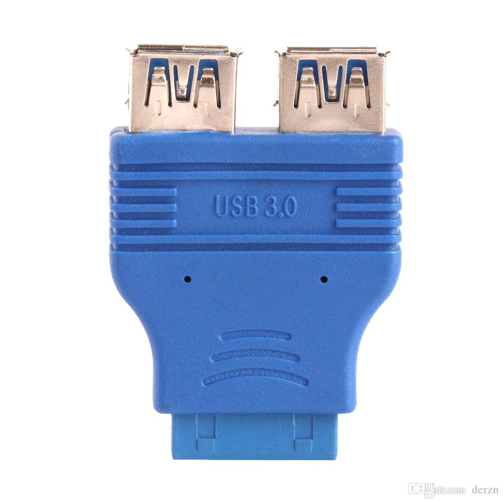 20 pin Mother board Header Female to Dual USB 3.0 Type A-Female Adapter Connector Blue