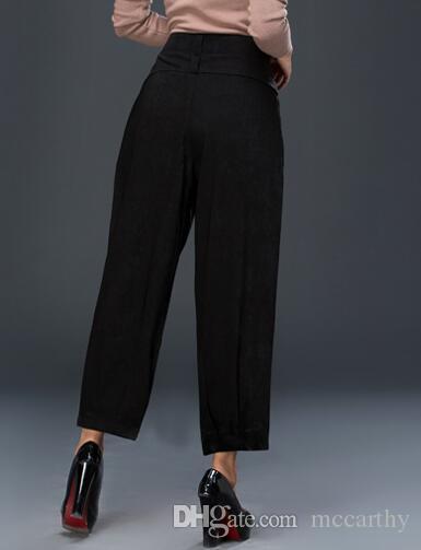 Kadınlar için harem pantolon artı boyutu siyah kırmızı olgunlaşanlar pantolon rahat kapriler yeni moda bahar sonbahar yüksek bel pantolon kadın gevşek seb0702