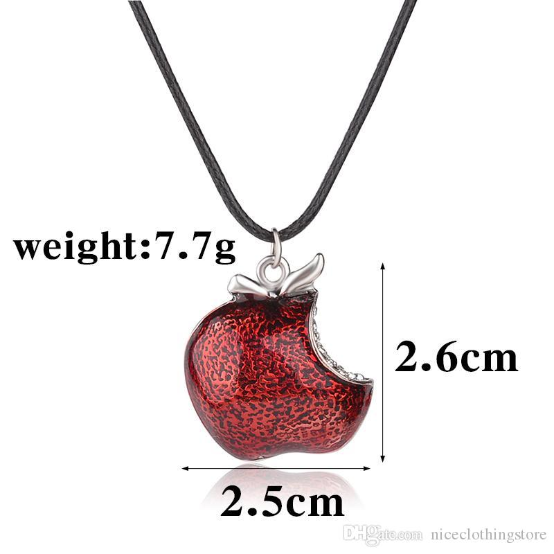 Once Upon a Time Necklace Regina Mills 925 Sterling silver snow white One Bite Red Poison Apple Pendant Necklaces crystal Charms for women