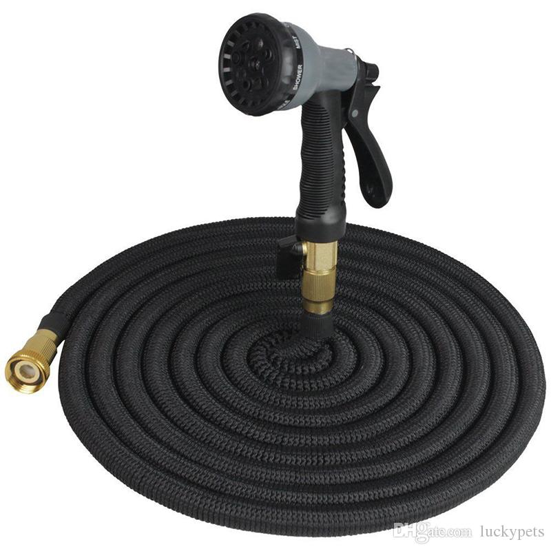 50FT Expandable Garden Watering Hose Flexible Pipe With Spray Nozzle Metal Connector Washing Car Pet Bath Hoses EU US Version