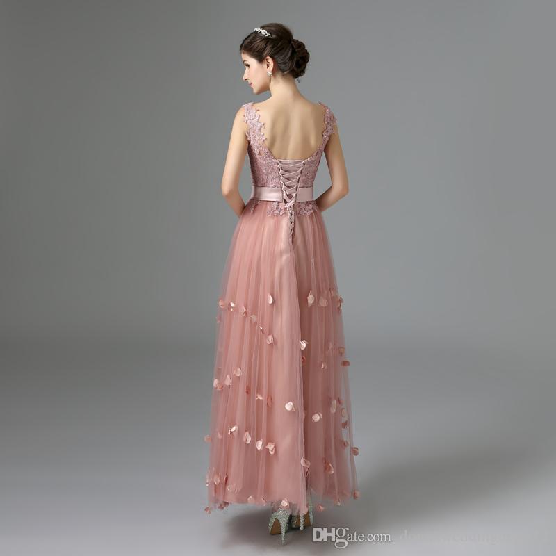 neue Ankunft elegante Abendkleid Appliques A-Linie Blumen Lace-up Praty Kleid versandkostenfrei 2017 Brautjungfer Kleid