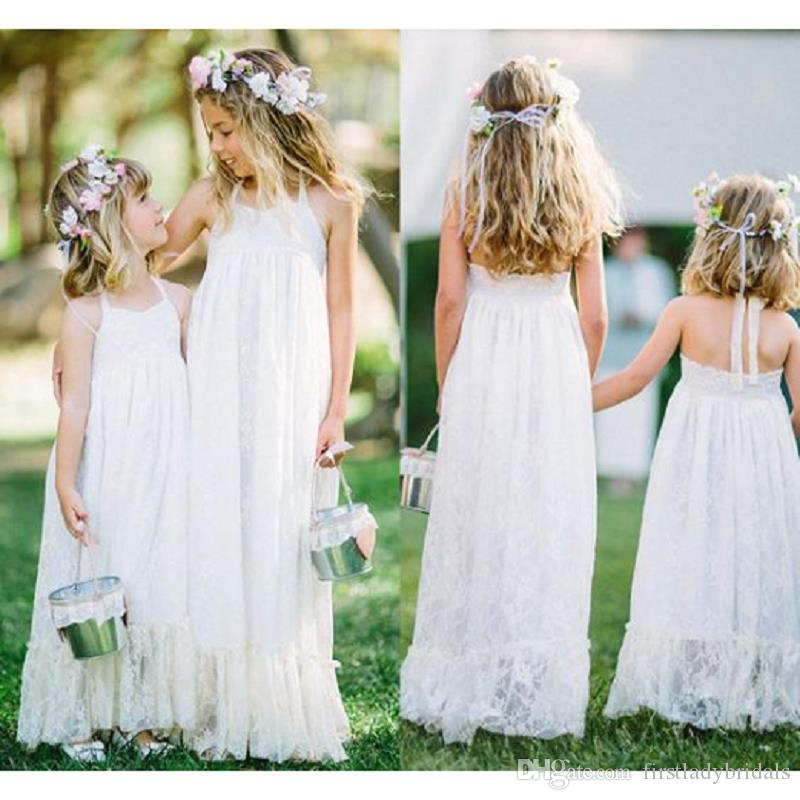 2cd3c759002d White Lace Junior Bridesmaids Dresses Halter Empire Long Little Girls  Wedding Party Gowns Cheap Formal Dresses For Juniors Juniors Dresses From  ...