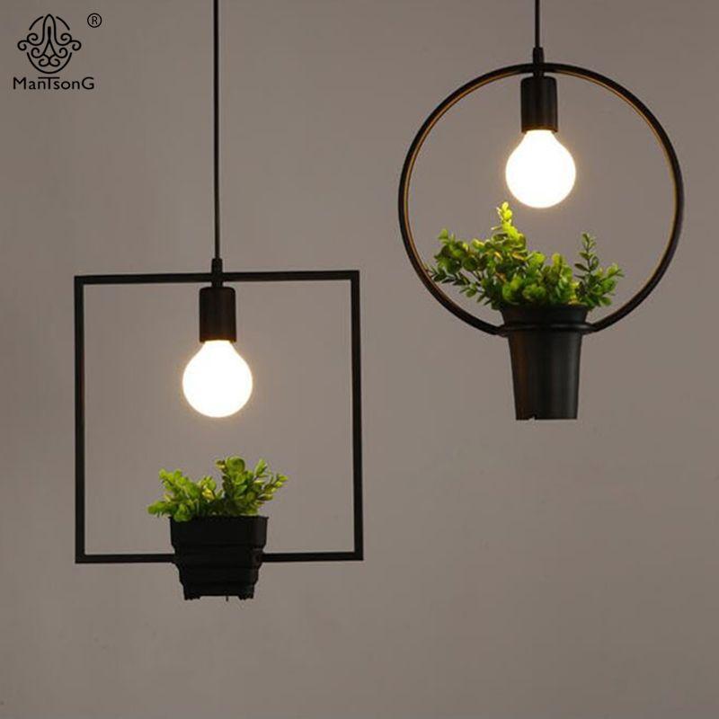 Discount Hanging Lamp Geometric Plants Pot Iron Square Round Suspension Pendant  Light Nature Designer For Decor Restaurant Cafe Lighting Discount Pendant  ...