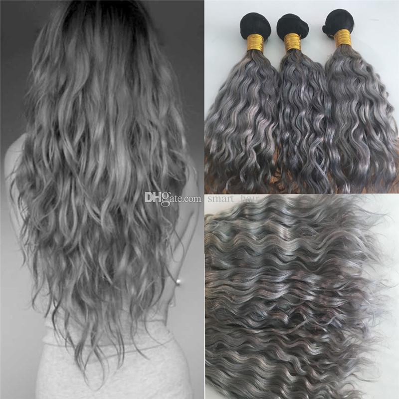 Nouvelle Arrivée Ombre Couleur 1B Gris Bundles De Cheveux Humains Deux Tons Brésilienne Vierge Trame De Cheveux 1B Gris Eau Vague Extension de Cheveux 3 Bundles