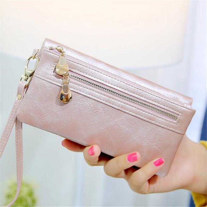 Fashion Women Zipper Wallets & Holders Clutch Bags PU Card Holders For Gift Lady Dress Long Wallets