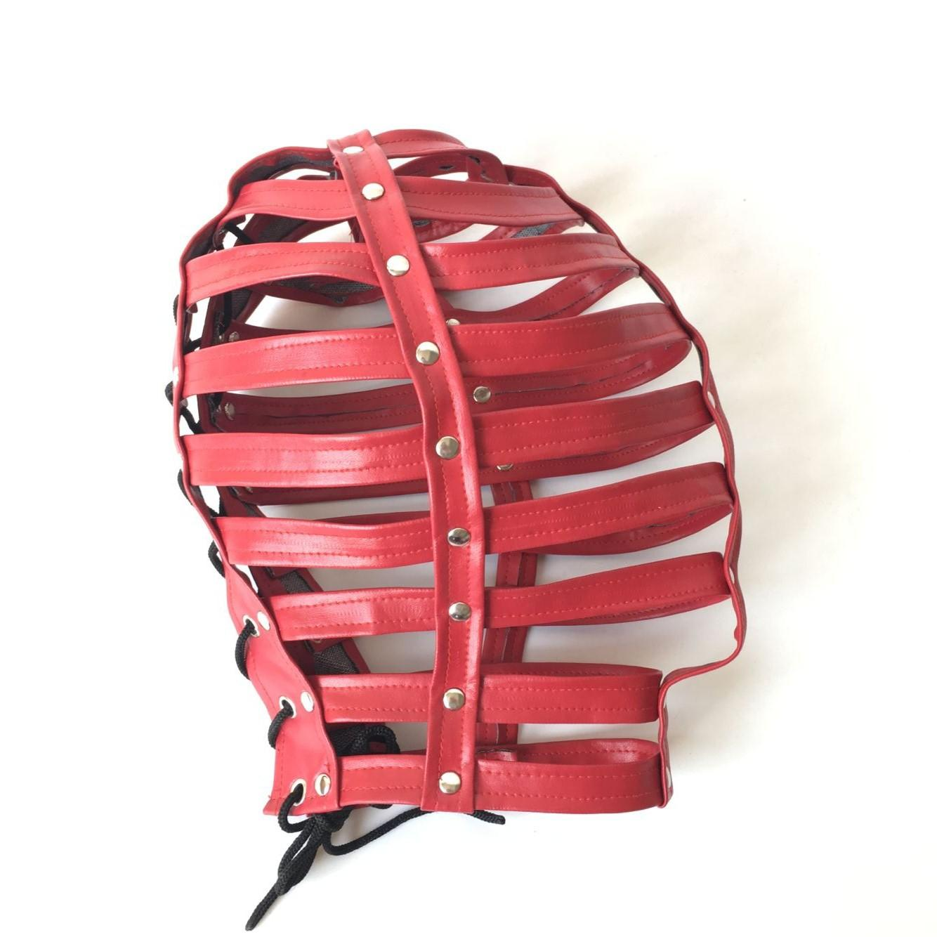 Red Adjustable full body bondage belt leather Sleeveless bikini with hoodgear hood fetish SM restraints strap clothing games sex toys