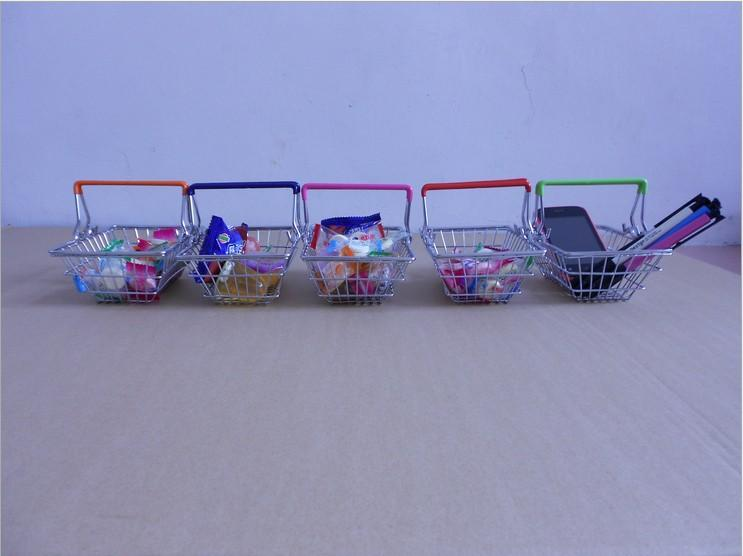 50 Teile / los Mini Kleine Metall Supermarkt Warenkorb, Desktop Trolley Warenkorb, Pocket Storage Mobile Stift Geschenk