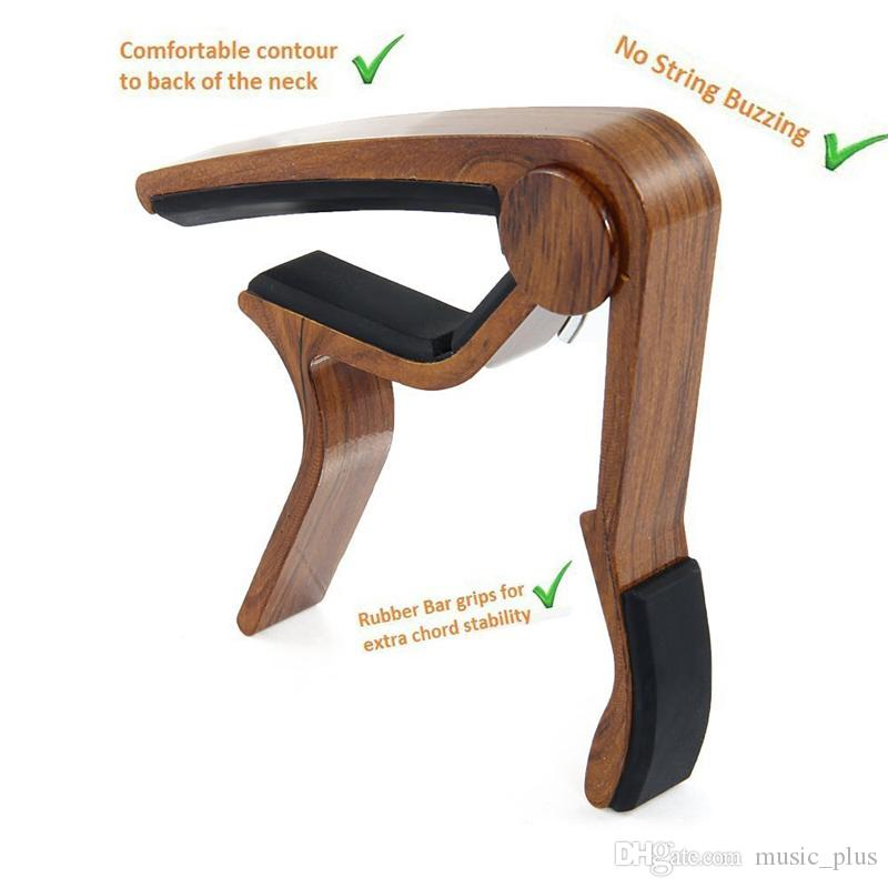 Envío gratis 6 cuerdas nuevo diseño madera grano guitarra acústica Capo instrumento musical guitarra Capo -madera natural + madera de rosa