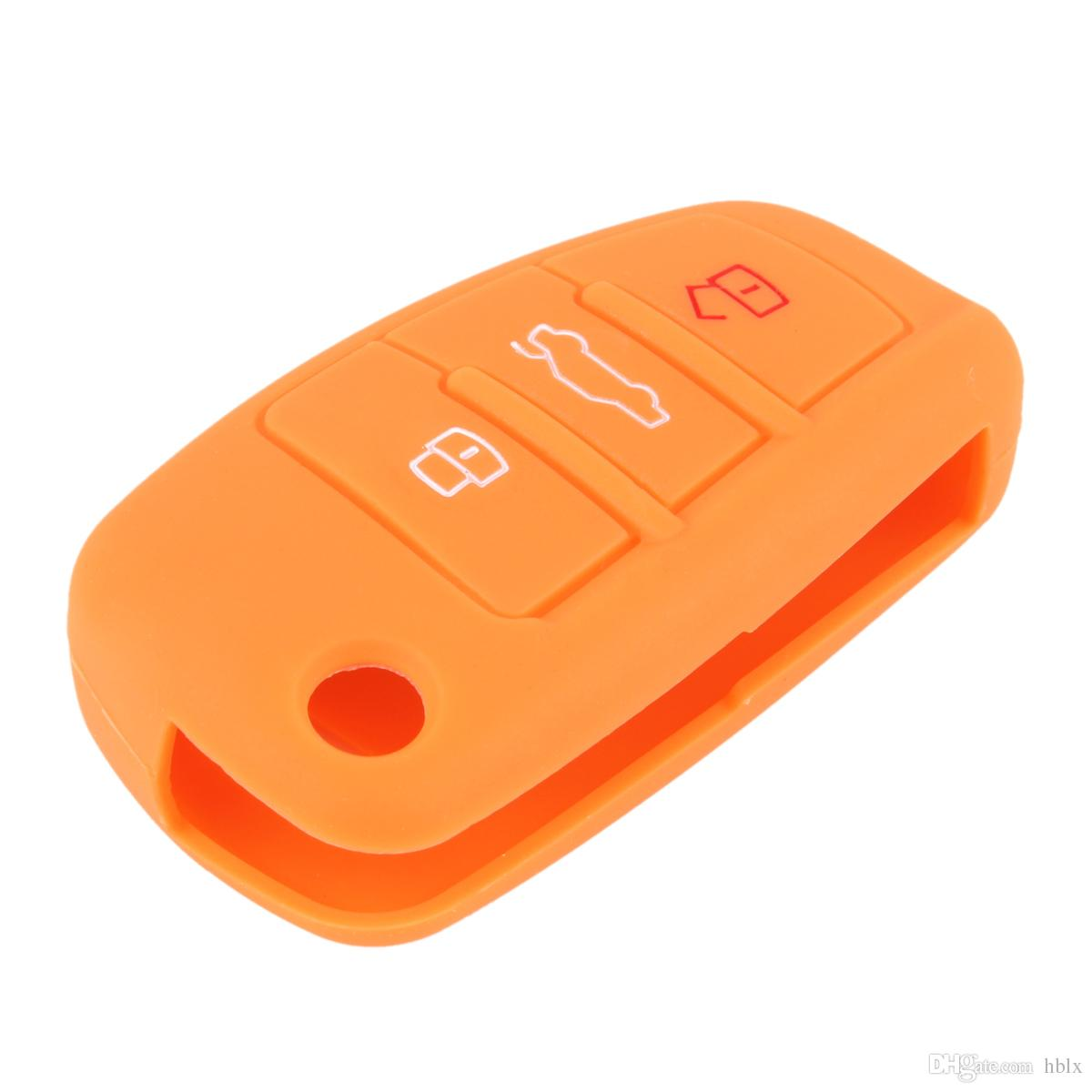 Color Optianal 3 Buttons Car Silicone Key Case Cover For Audi A1 A3 Q3 Q7 R8 A6L AUP_40I