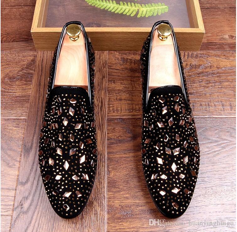New British style Men casual Evening party dress shoes Glitter Homecoming Prom shoes loafers Sapato Social Masculino AXX2211