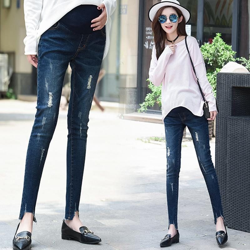4682ca6bf6185 Autumn Ripped Hole Denim Skinny Maternity Jeans Clothes For Pregnant Women  Thin Summer Slim Pregnancy Pencil Pants Trousers Canada 2019 From  Mingway245, ...