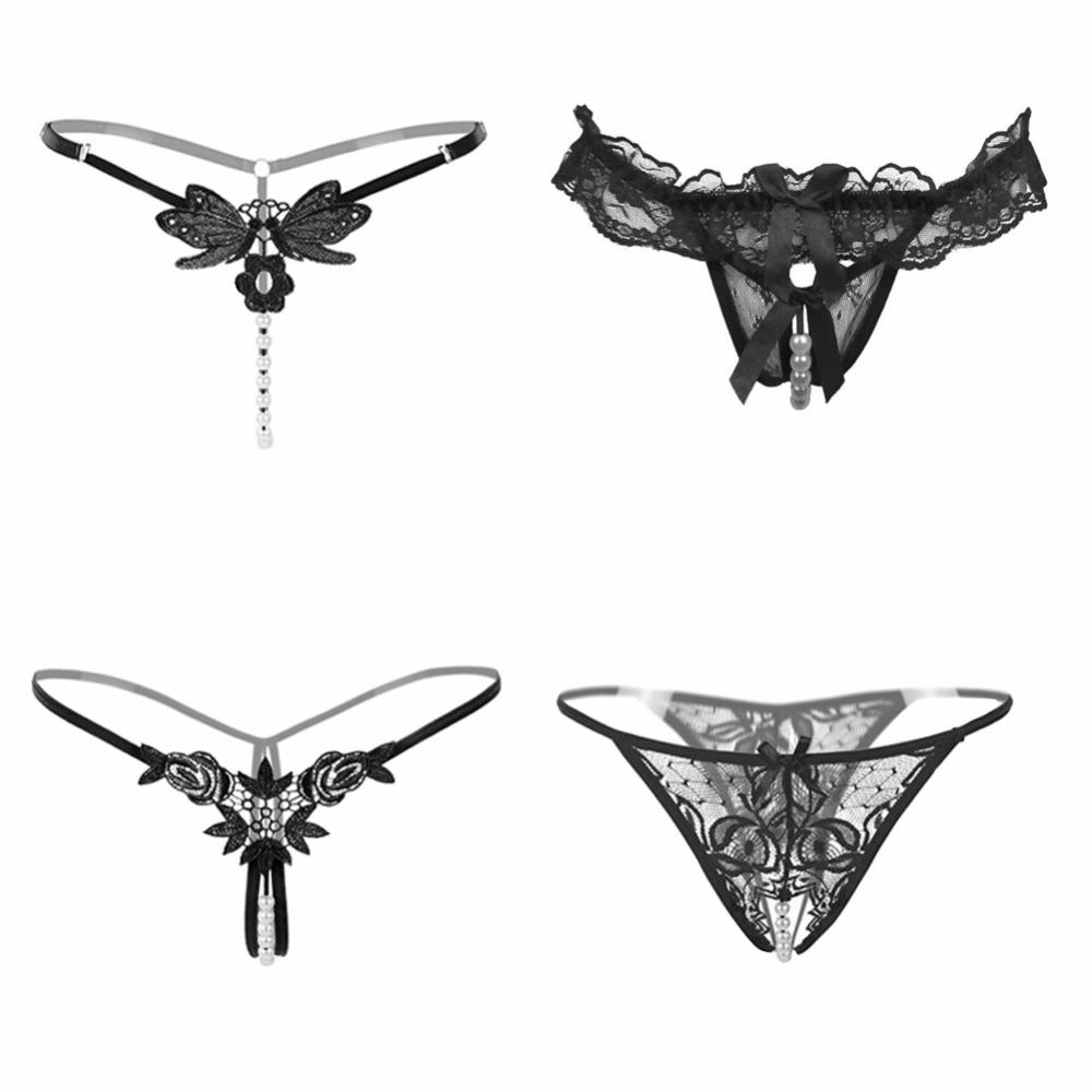 18d15177a33 2019 Nightaste Women'S Sexy Funny T Back Lingerie Lace G String Crotchless  Thong Fun Panties4 Styles/Pack,One Size,Black From Z03a, $17.13 | DHgate.Com