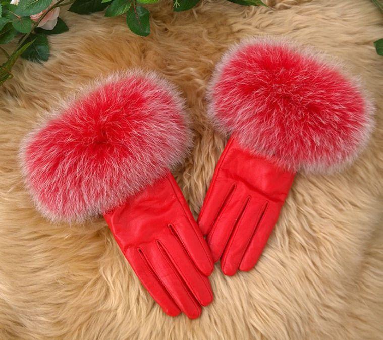womens Fox fur Real lambskin Gloves skin gloves LEATHER GLOVES Warm Fashion #4045
