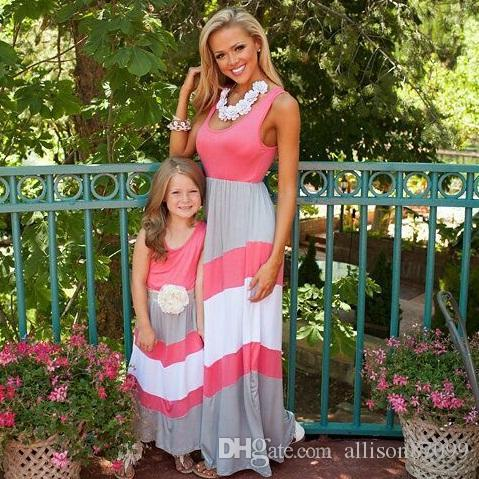 251f3a372f Summer Family Matching Clothing Mother Daughter Tank Dress Mother And  Daughter Clothes Beach Maxi Dresses Stripe Girls Cotton Slim Mom Dad And Baby  Matching ...