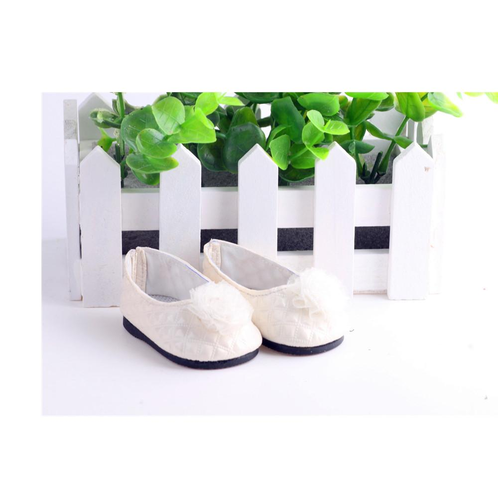 Doll Shoes For 18 Inch American Girl Doll Clothes Accessories White Fashion Cute Popular Ballet Handmade Leather Shoes LH16