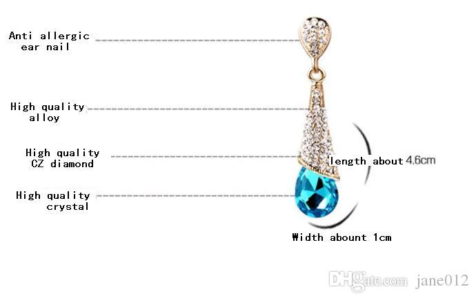 Fashion Korean Blue Red Crystal Rhinestone Waterdrop Heart Bridal Stud Dangle Chandelier Earrings for Wedding Engagement Cheap Price