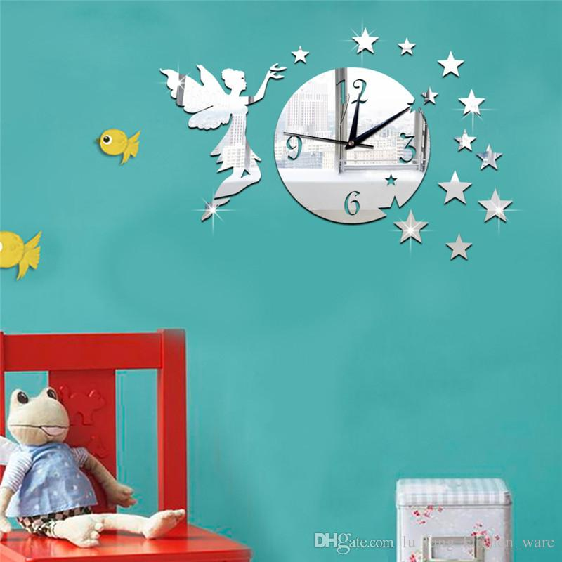 Acrylic 3D mirror wall stickers round clock Creative Home Decor DIY fairy star Carved bedroom Removable Decoration Stickers 2017 wholesale