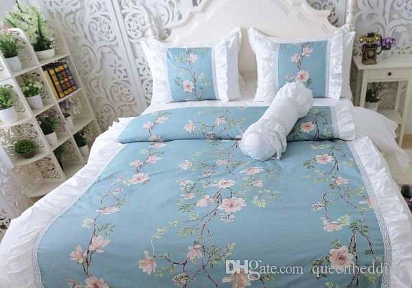 blu colore dei jeans di biancheria da letto casa di lusso 4 pezzi set nozze di cotone morden breve copripiumino federa matrimoniale queen size linenbedding