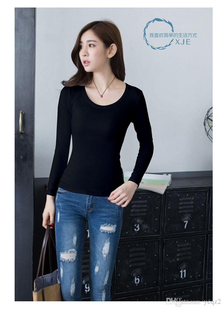 In the spring of 2017 long sleeved cotton T-shirt Jacket Womens Black T-Shirt bottoming autumn clothing slim solid tight white winter