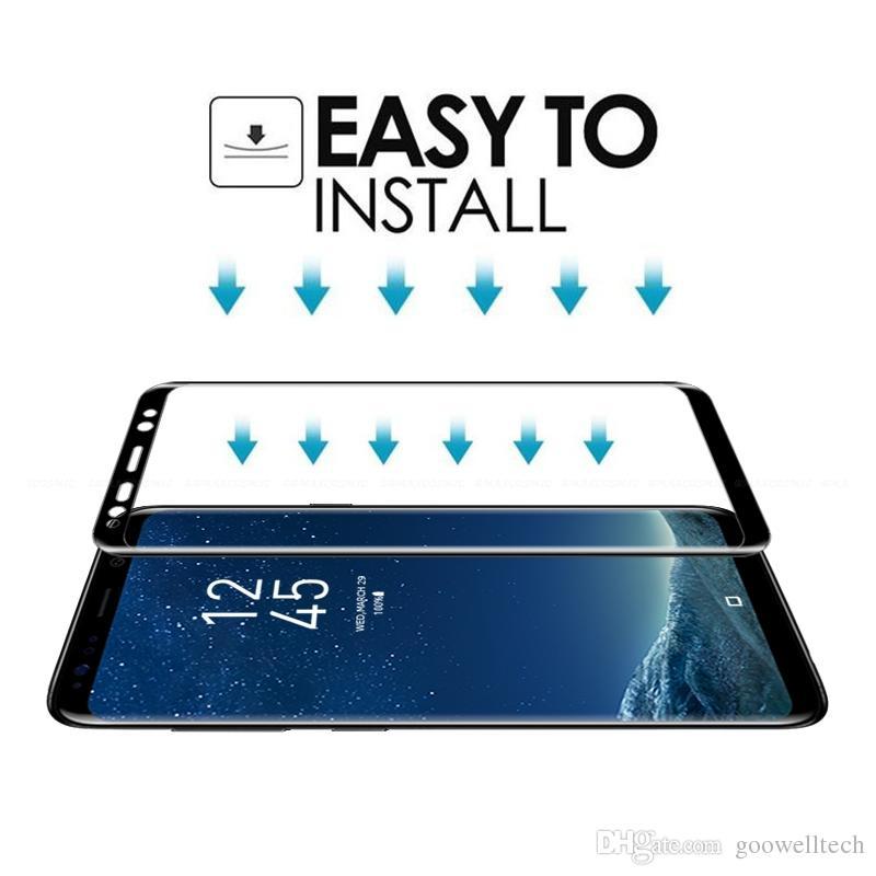 10 шт./лот 3D полный экран обложка изогнутые закаленное стекло для Samsung Galaxy S8 S8 Plus защитная пленка