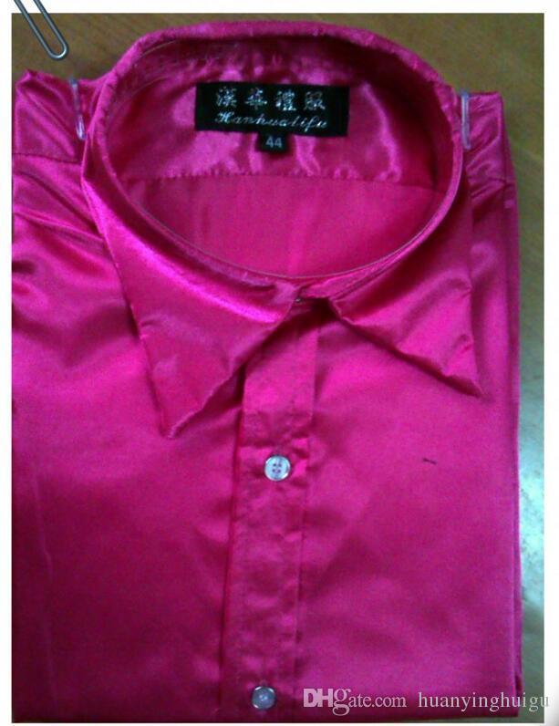 Men's Fashion Luxury Stylish Casual Designer Dress Shirt Cultivate one's morality long sleeve shirt wedding mens Red white dance shirt