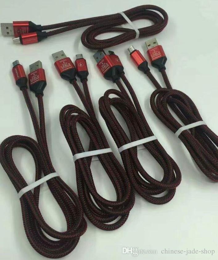 1m 3ft 2.0a Speedladd Od4.5 Metal Adatper Fish Bone Micro USB-kabel Nylon flätad ledning Tråd för telefon / parti