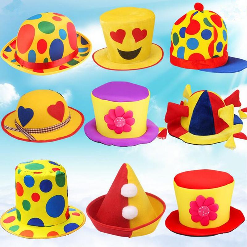 Creative Clown Hat Colorful Caps Adults Stage Performance Props Costume Accessories New Year Party Supplies Custom Birthday Hats First