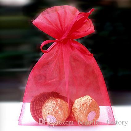 White Organza Bags Gift Pouch Wedding Favor Bag 13cm X18 cm 5x7 inch Ivory / gold / blue