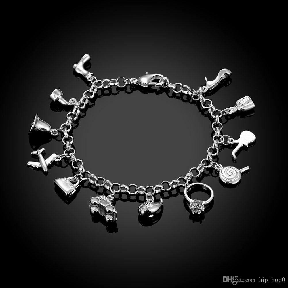 925 Silver Plated Charms Bracelet Bangle Personalized City Element Women Bracelet Aircraft, Diamond Ring, High Heel, Bag, Car, Dolphin etc.