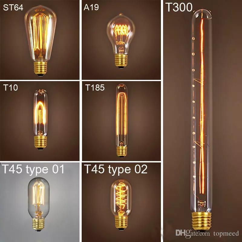 40W 레트로 램프 에디슨의 전구 ST64 빈티지 소켓 DIY 로프 펜던트 E27 백열 전구 220V 110V 휴일 조명 필라멘트 램프 Lampada을 주도
