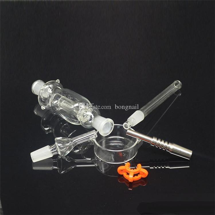Miglior 10/14 / 18mm Nettare Collector con Titanium Nail Grade 2 Titanium Mini Glass Tubo Puntao tubi in vetro Miele Paglia Concentrato Miele DAB Paglia