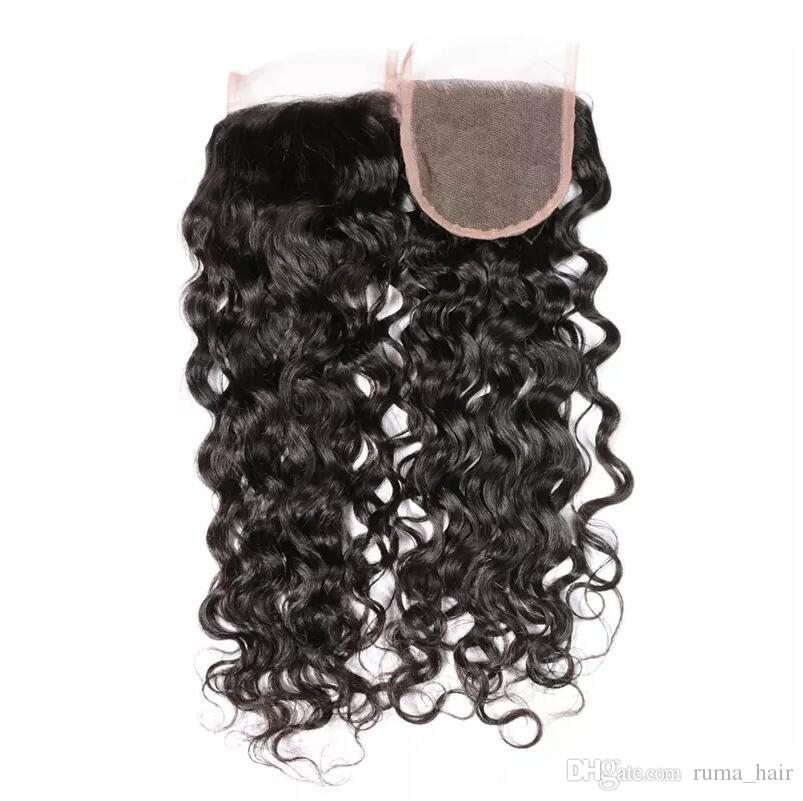 حزم المياه موجة الشعر البشري مع إغلاق الرباط عالية الجودة بيرو عذراء الشعر اللحمة مع 4 * 4 أعلى إغلاق الشعر الرطب ومائج