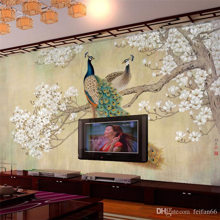 фото обои современное искусство живопись китайская гостиная спальня телевизор фон птица павлин магнолия большие настенные обои