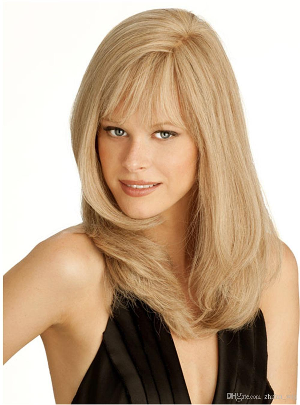 Z&F Blonde Wig Medium Wigs Bang Curly Wig 16 Inch Wave Natural Fashion US Afro Style