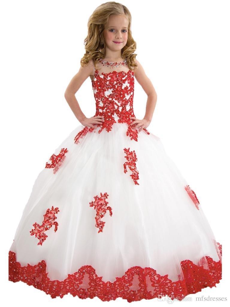 2017 Ziemlich Weiß Tüll Rote Spitze Applique Perlen Reißverschluss Blumenmädchen Kleider Ballkleid Bodenlangen Mädchen Festzug Geburtstag Mädchen Glitz Kleider