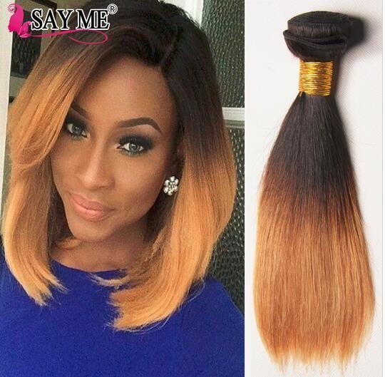 1b 4 27 Ombre Brazilian Virgin Straight Hair 3 Bundles Short Ombre
