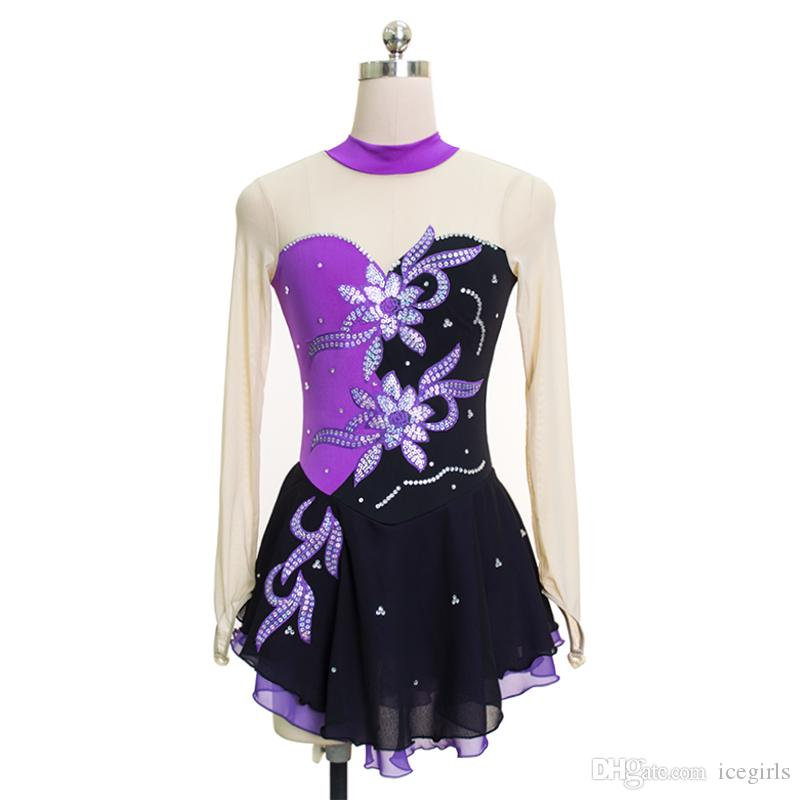 2018 Collection Brand Ice Skating Dress Above Knee Length Long Sleeve Custom Made Cute Children Spandex Dress for Competition