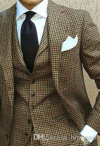 2018 New Coat Pant Design Houndstooth Mens Tuxedos Groom's Wear Tuxedo Wedding Suits For Men Blazer Masculino Plus Size(suit+vest+pant)1202