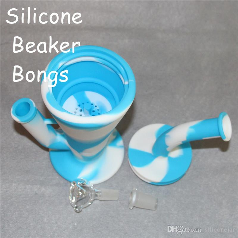 Wholesale Silicone Dab Concentrate Rig Oil Burner Bong 10.4 inch Unbreakable Silicone Water Pipe Beaker Bongs DHL