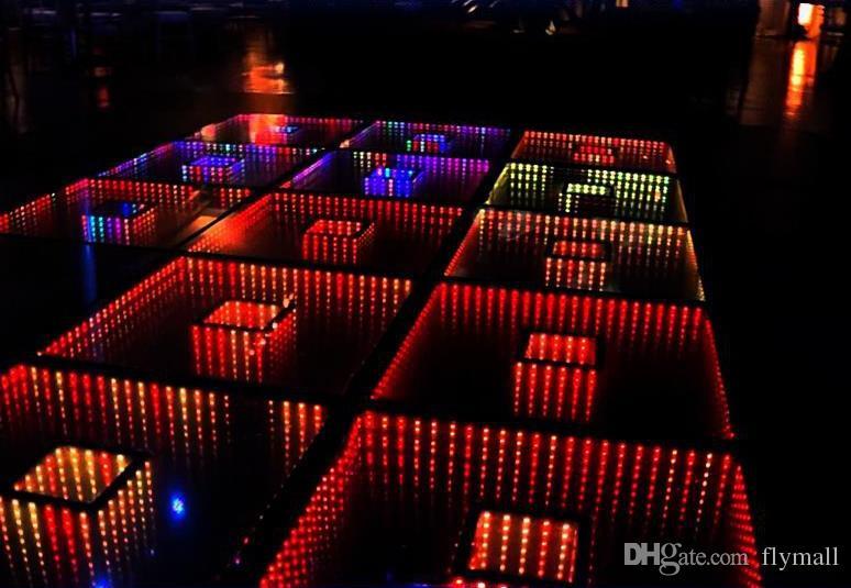 50 * 50cm Specchio 3D Led Dance Floor Light con controllo SD Led Stage Effect Light Stage Pannello luci discoteca DJ Party Lights Wedding Decor